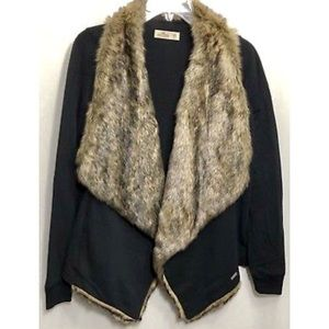 NWT Hollister Black Faux fur Cardigan open front